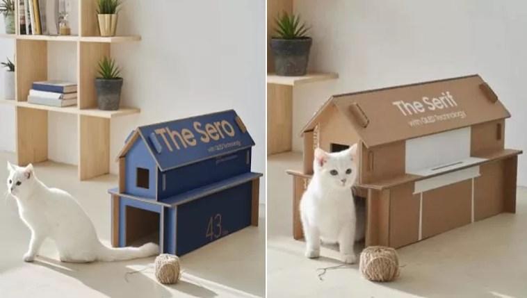Casinhas para gatinhos caixas de tv
