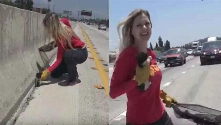 Mulher salva gatinho abandonado