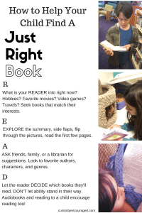 Help your kids find a just right book and get into the reading zone.