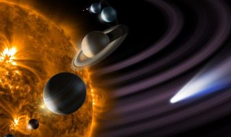 The solar system: Sun, Mercury, Venus, Earth, Mars, Jupiter, Saturn, Uranus, Neptune