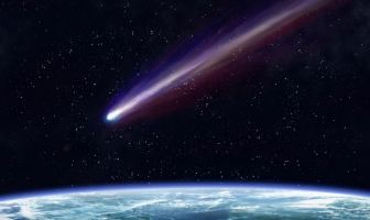 A shooting star - a meteorite approaching earth's atmosphere