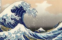 """The big wave off Kanagawa"" shows a tsunami off the coast of Japan."