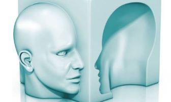 two sides of the same human face to emphasize mood swings associated with bipolar disorder