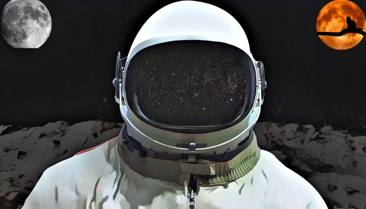 Facts about the moon. A man standing on the moon.