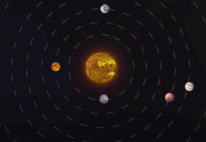 An image depicting solar radiation in the solar system.