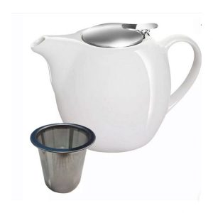white ceramic teapot with stainless steel tea infuser