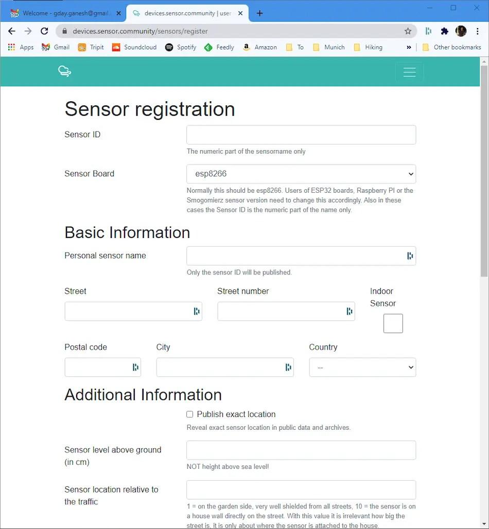 registration page for sensor community