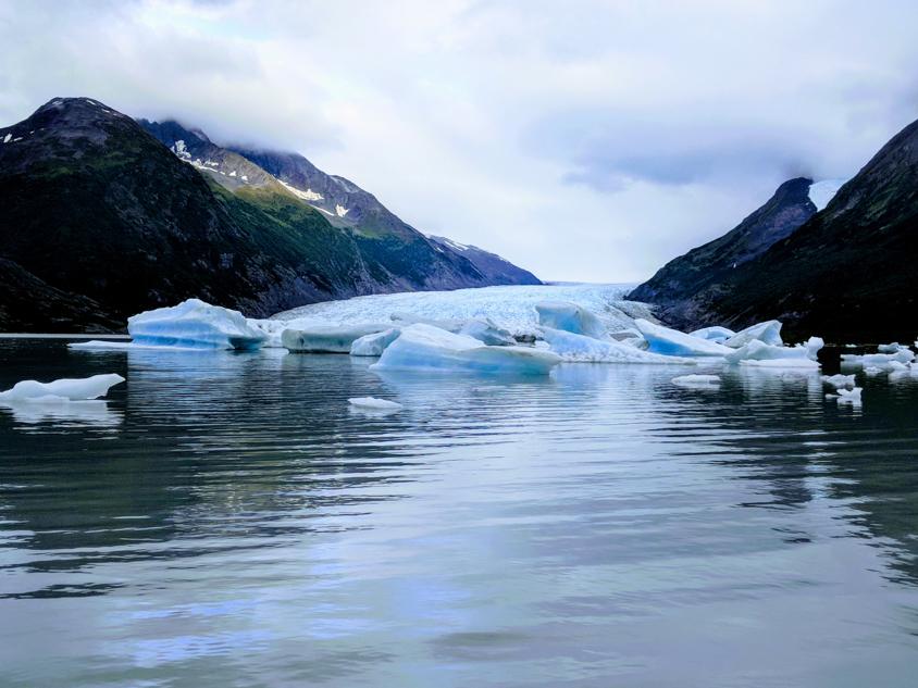 Spencer Glacier calving into a lake