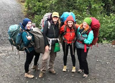 group of girls camping at spencer lake