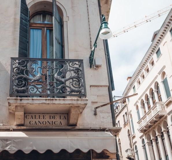 Venetian window with iron balcony