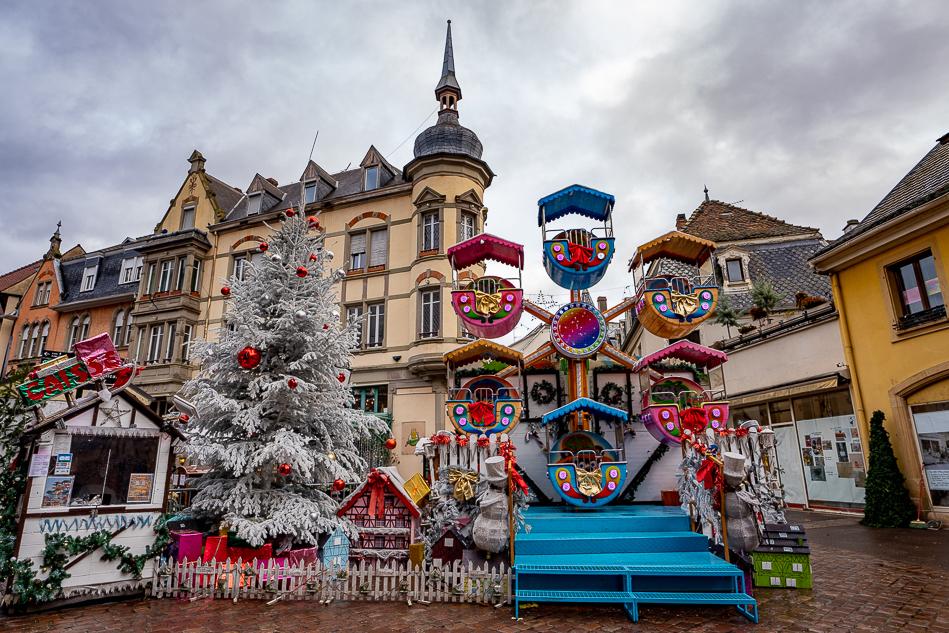 Colmar Christmas Market ferris wheel and christmas tree
