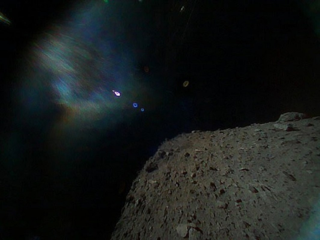 Image from the surface of Asteroid Ryugu, photographed by rovers of the Japanese Space Agency.