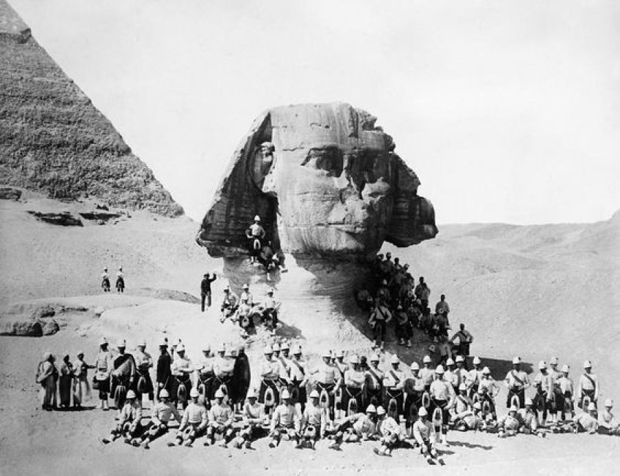 British soldiers posing at the Great Sphinx at Giza. Image Credit Unknown.