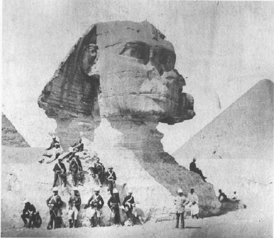 One of the oldest photos of the Great Sphinx from 1880. Image Credit Unknown