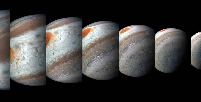 From left to right, this sequence of images was taken between 2:57 a.m. and 3:36 a.m. PDT (5:57 a.m. and 6:36 a.m. EDT) on April 1, 2018, as the spacecraft performed its 12th close flyby of Jupiter. Image Credit: NASA/JPL-Caltech/SwRI/MSSS/Gerald Eichstädt/Seán Doran.