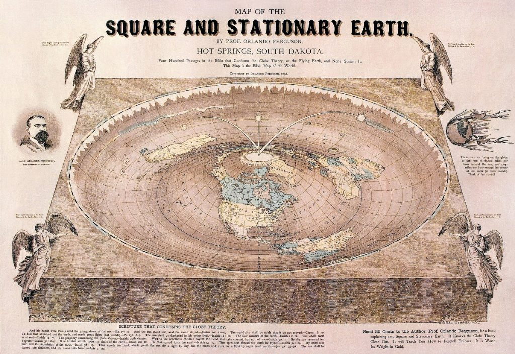 "Flat Earth map drawn by Orlando Ferguson in 1893. The map contains several references to biblical passages as well as various jabs at the ""Globe Theory"". Image Credit: Wikimedia Commons."