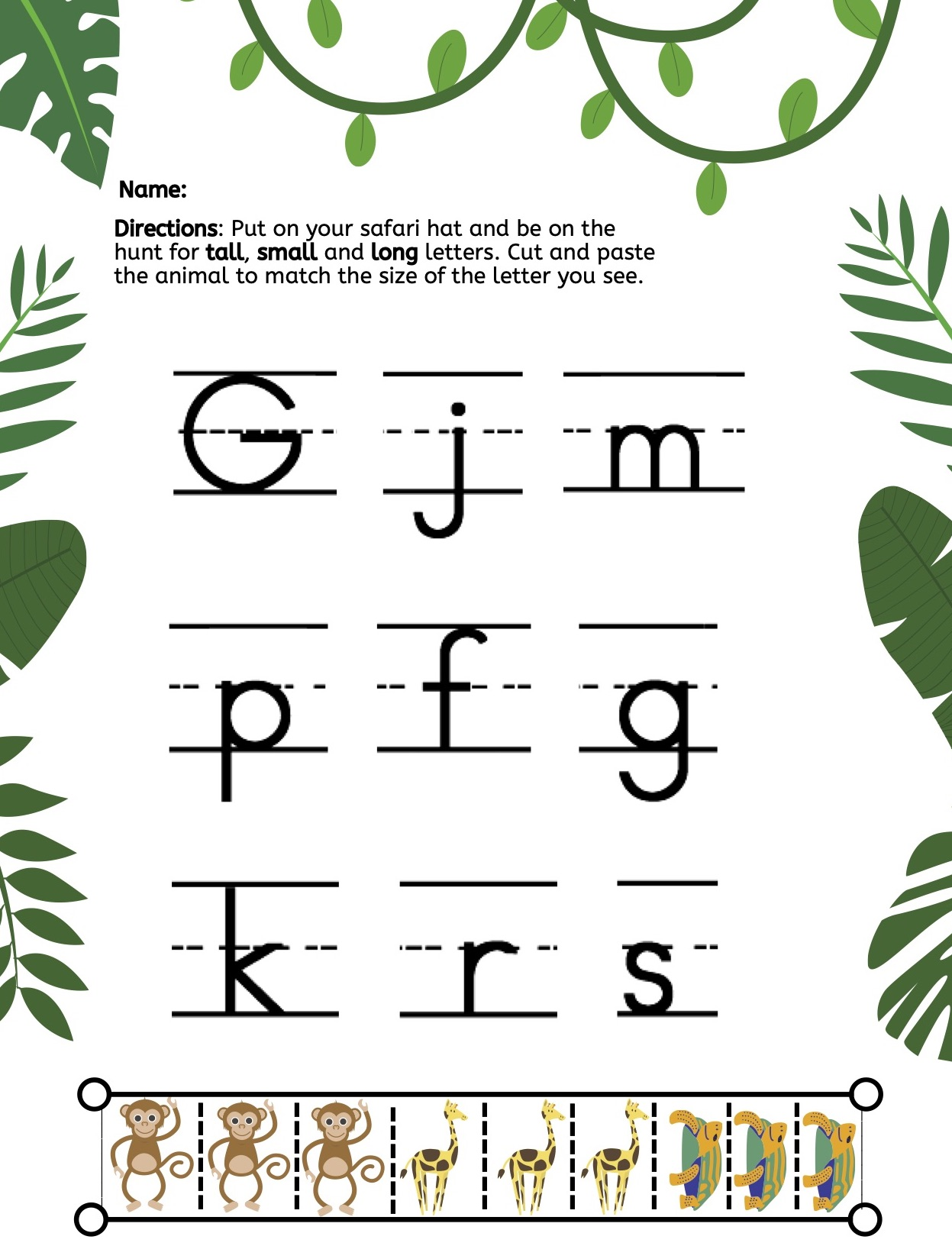 Cut And Paste Safari Letter Size Worksheet Kyu R A S
