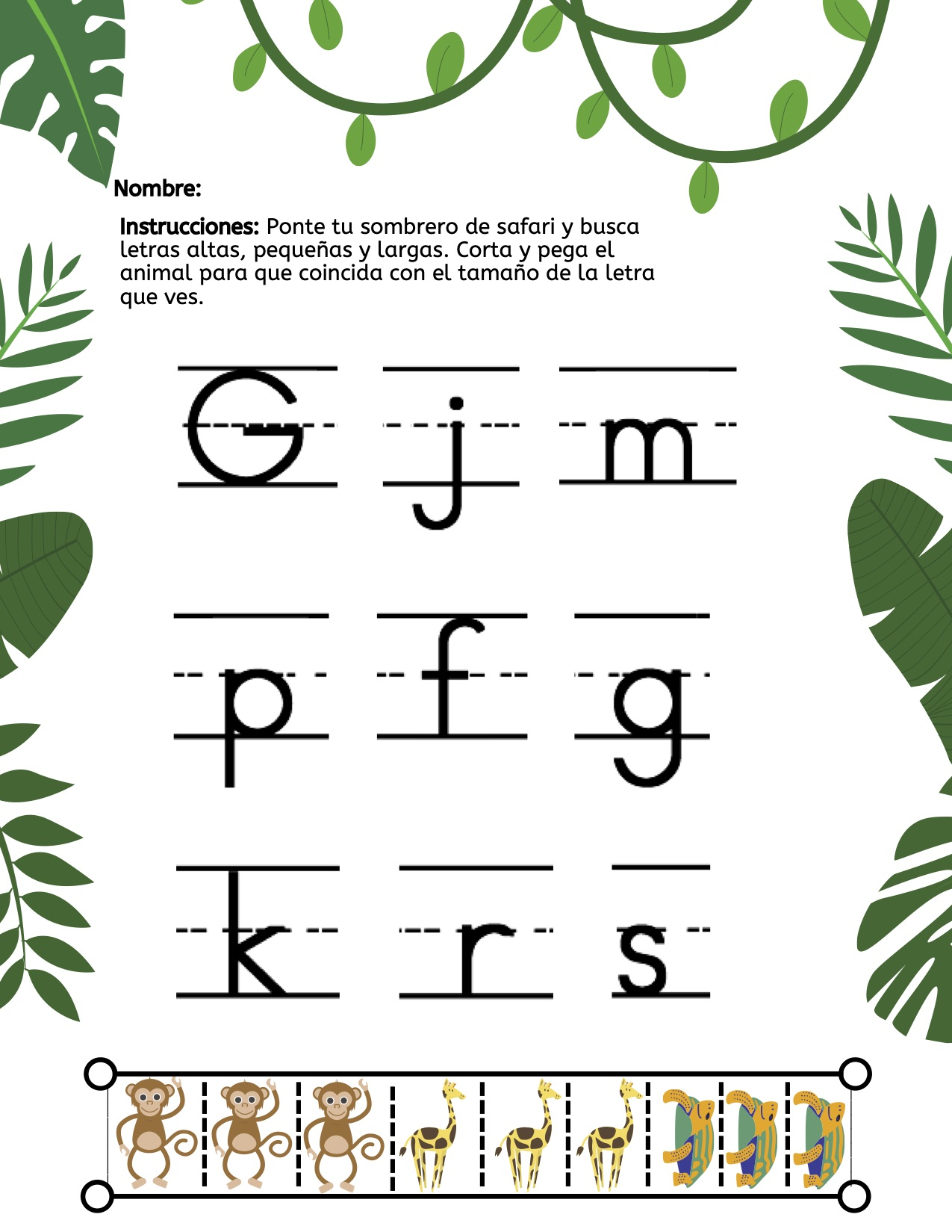 Spanish Cut Amp Paste Safari Letter Size Worksheet Kyu R
