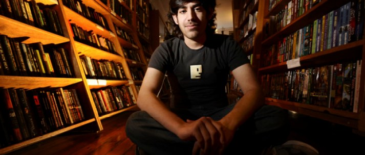 Aaron Swartz poses in a Borderland Books in San Francisco