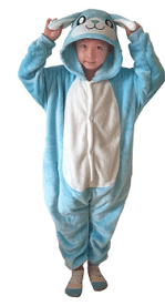 Blue onesie for the the Bunny Brawler costume