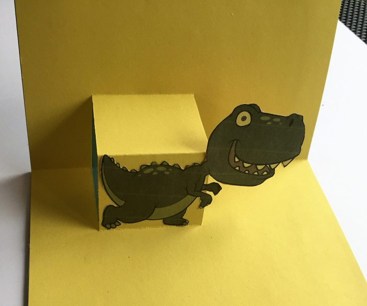 How to make a pop up card Step 6 - How to make a pop up card: Dinosaur birthday card
