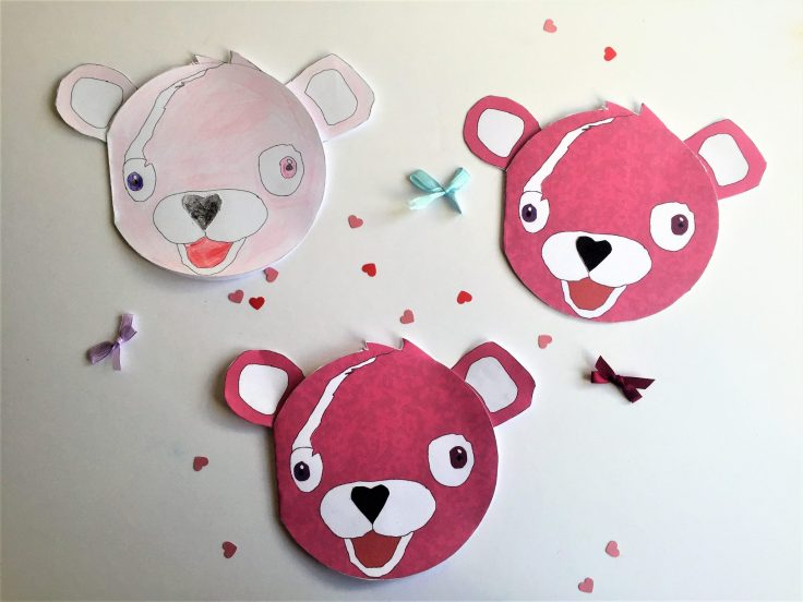 Cuddle Team Leader Valentines card for kids - Step 4 stick the shapes to the face