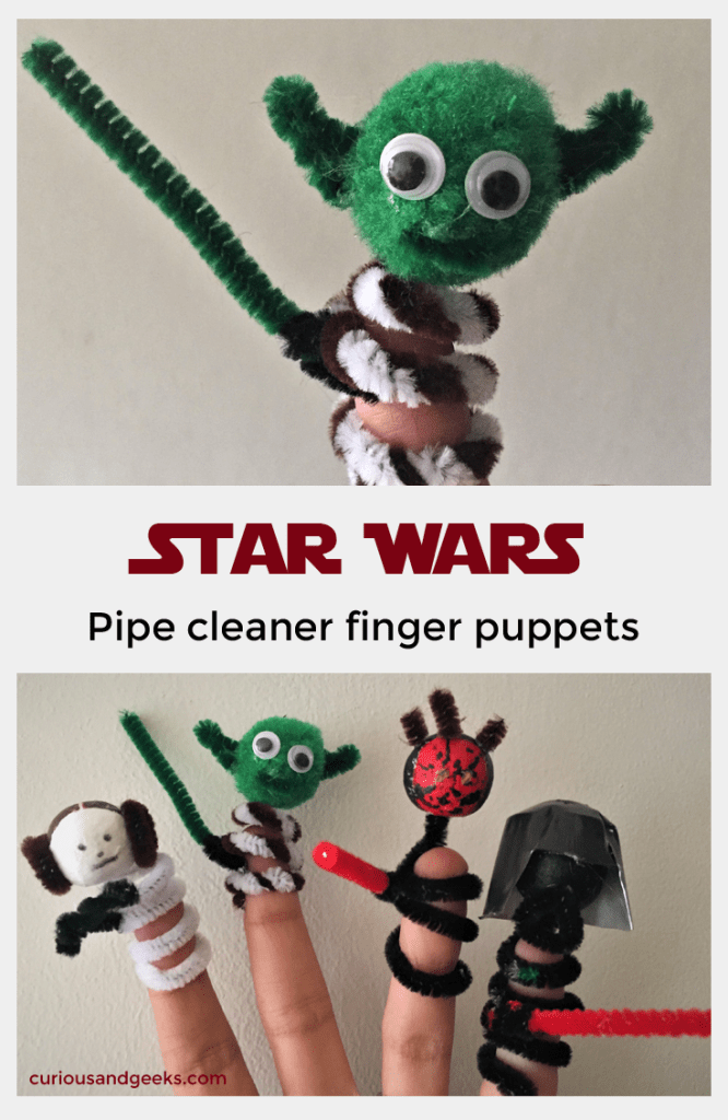 For all Star wars fan: check out these star Wars finger puppets. They are made out of pipe cleaners and make a really great craft for kids and for geeks :)