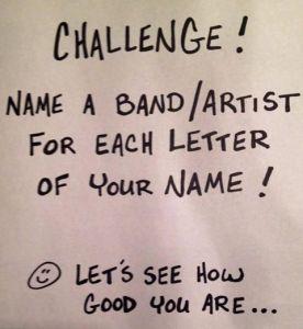 Band_Artist challenge