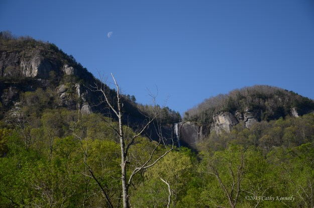 Chimney Rock, North Carolina waterfall shot and moon