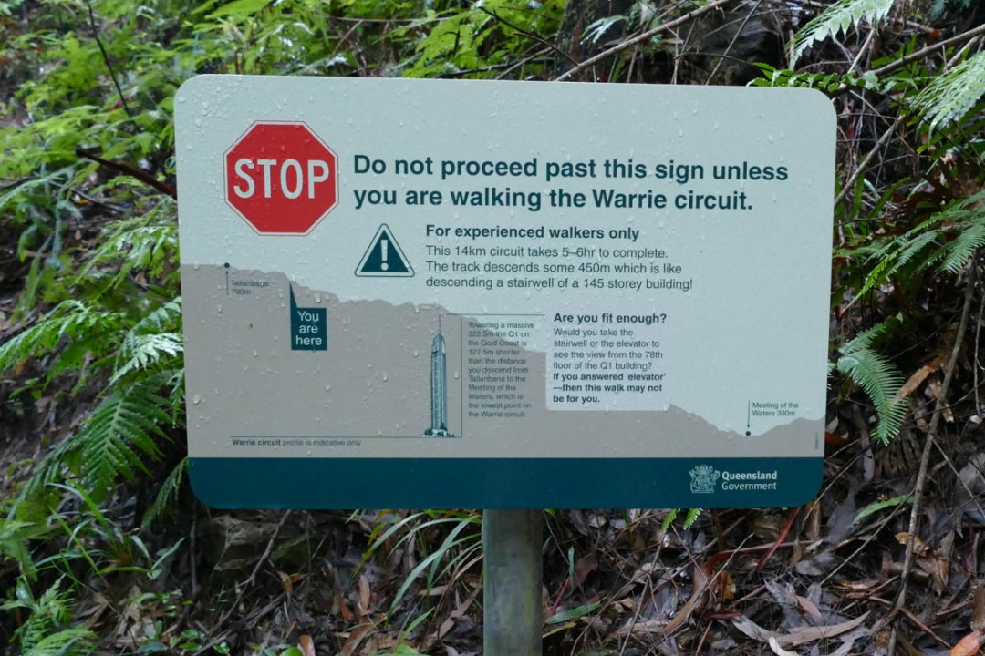 warrie circuit hike warning