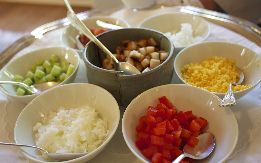 Gazpacho's colourful toppings