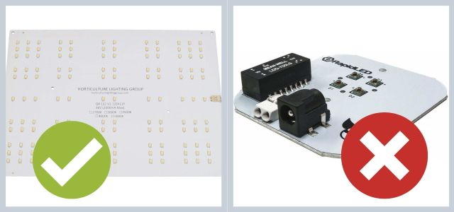 Left side is a passive quantum board marked as good, and the right is a picture of a board that has a built-in driver marked as bad.
