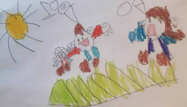 child's drawing of a boy sharing his toys with a girl