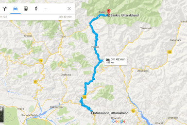 Route from Mussoorie to Sankri