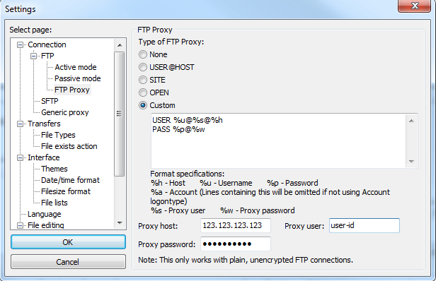 FileZilla Options For BlueCoat