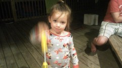 Blowing bubbles with Lillian
