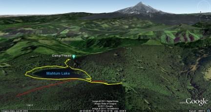 Wahtum Lake, Mt Chinidere, and Mt Hood