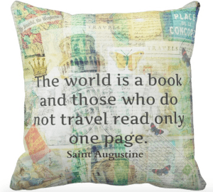 Image of button to buy the Ultimate Christmas Gift Guide Zazzle Travel Quote Cushion