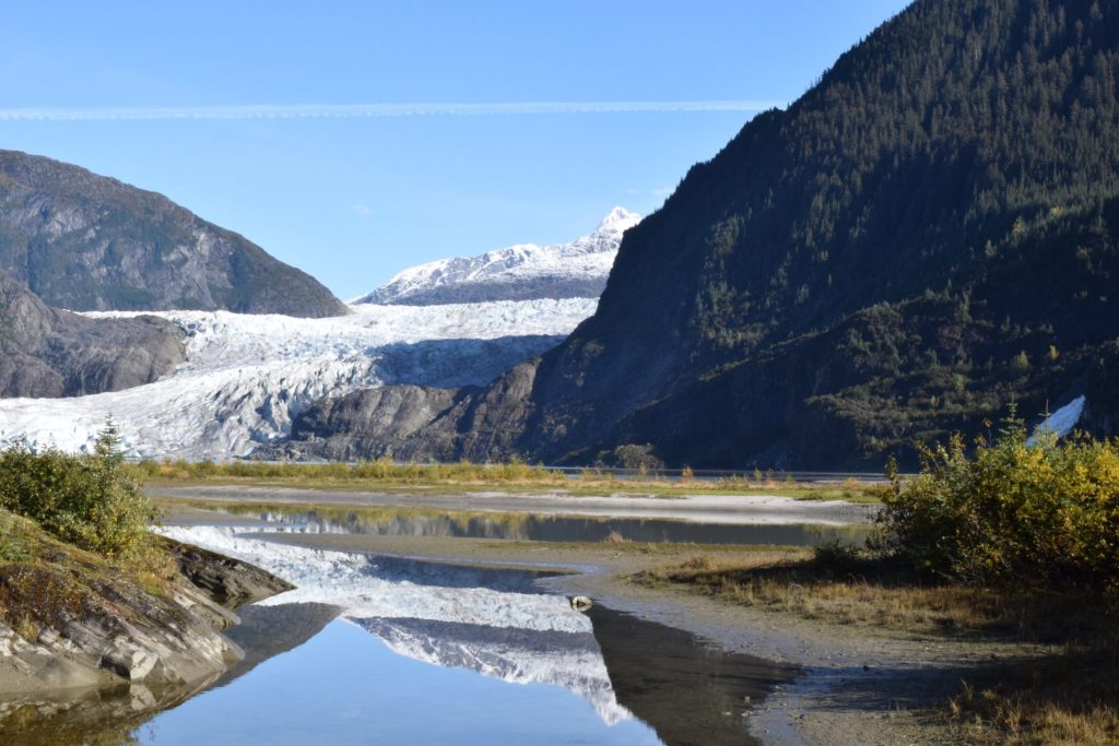 Image of Mendenhall Glacier from the Mendenhall Visitor Centre