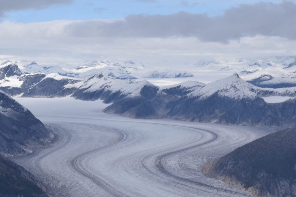Image of the Juneau Icefield from above in a helicopter