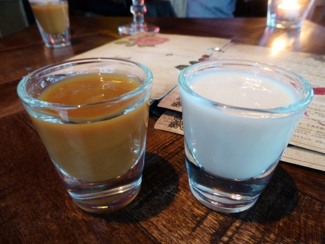 For sweet teeth: caramel and white chocolate vodkas. Like Corky's shots with balls.