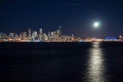 Seattle at night from Alki Beach