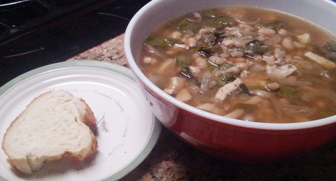 Garlicky White Bean Soup with Chicken and Chard