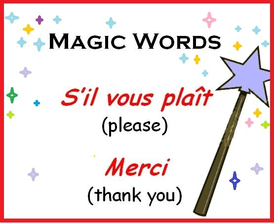 Magic words in french, please and thank you