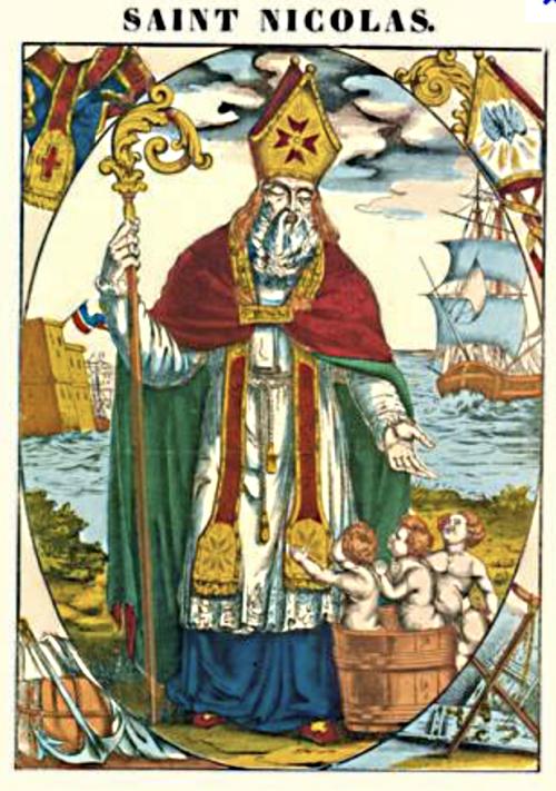 Saint Nicolas raising three children
