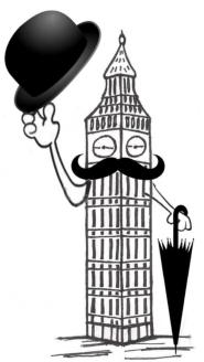 Big Ben w hat & brollie