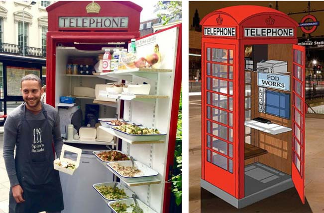 salad and office phone box
