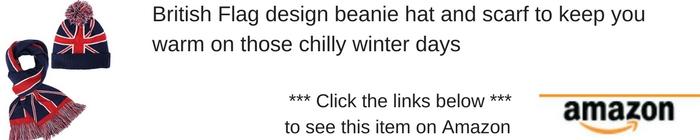 British beanie hat and scarf