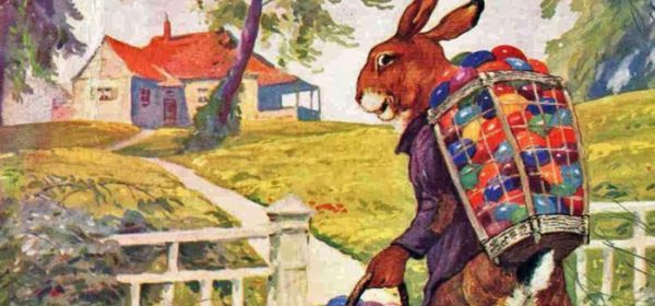 Easter Bunny with sack of eggs
