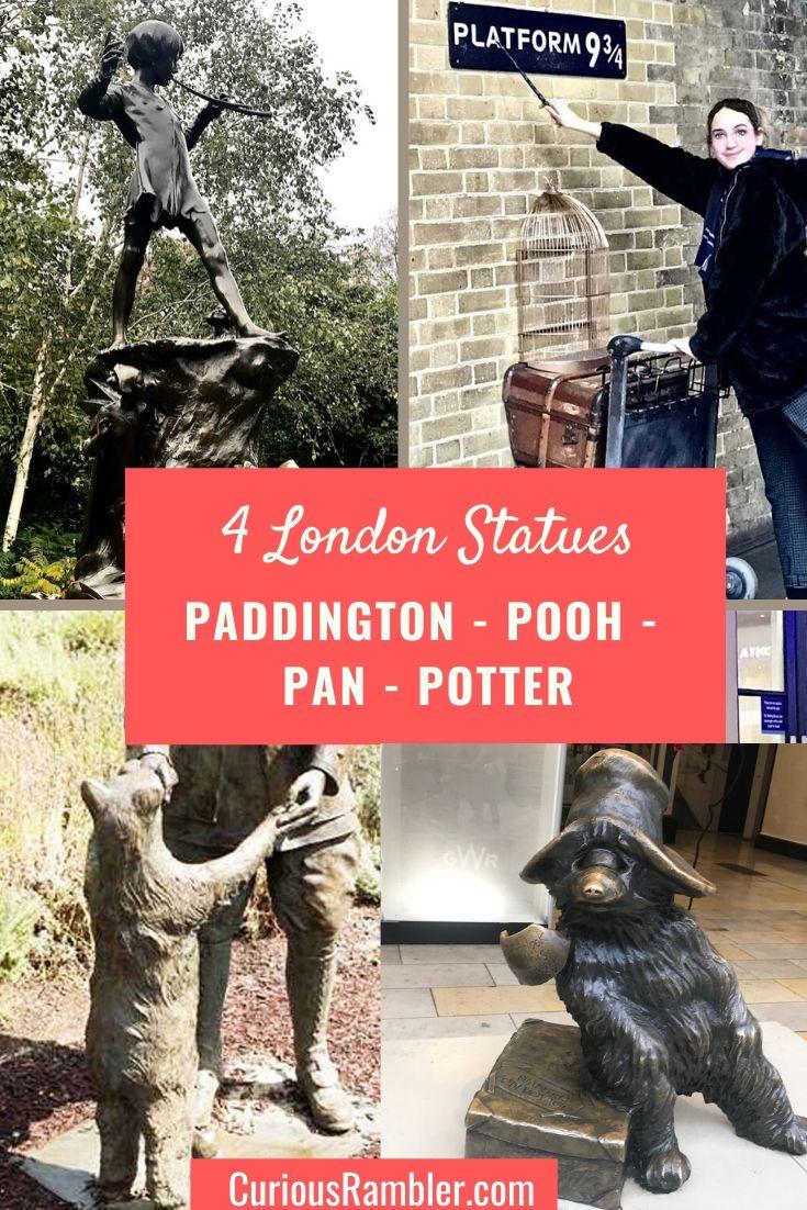 4 London Statues - Paddington - Pooh - Pan - Potter